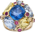 Estate Jewelry:Rings, Multi-Color Sapphire, Ruby, Gold Ring. ...