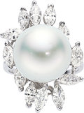 Estate Jewelry:Rings, South Sea Cultured Pearl, Diamond, White Gold Ring. ...