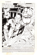 Original Comic Art:Splash Pages, Mark Bright and Jerry Acerno Power Man and Iron Fist #121Splash Page 1 Original Art (Marvel, 1986)....