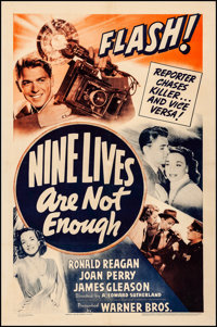"Nine Lives Are Not Enough (Warner Brothers, 1941). Fine/Very Fine on Linen. One Sheet (27"" X 41""). Mystery..."