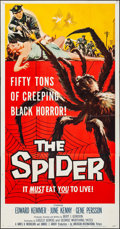 """Movie Posters:Horror, The Spider (American International, 1958). Folded, Very Fine-. Three Sheet (41"""" X 79""""). Horror.. ..."""