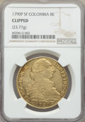 Colombia, Colombia: Charles IV gold 8 Escudos 1790 P-SF Details (Clipped) NGC,...