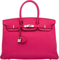 Luxury Accessories:Bags, Hermès 35cm Rose Tyrien Chevre Leather Birkin Bag with Pa...