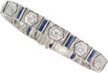 Estate Jewelry:Bracelets, Diamond, Synthetic Sapphire, Platinum Bracelet . ...