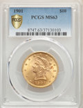 1901 $10 MS63 PCGS Secure. PCGS Population: (5512/4386 and 330/454+). NGC Census: (7215/3706 and 48/152+). MS63. Mintage...