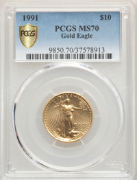 1991 $10 Quarter-Ounce Gold Eagle MS70 PCGS....(PCGS# 9850)