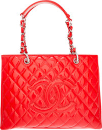 """Chanel Red Quilted Patent Leather Grand Shopping Tote Bag Condition: 1 13"""" Width x 9.5"""" Height x"""