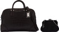 Luxury Accessories:Bags, Giorgio Armani Set of Two: Dark Brown Croc-Stamped Travel ...
