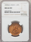 India:British India, India: British India. George V 1/4 Anna 1935-(C) MS66 Red NGC,...