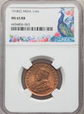 India:British India, India: British India. George V 1/4 Anna 1918-(C) MS65 Red and Brown NGC,...