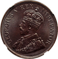 South Africa: George V Proof Penny 1923 PR67 Brown NGC