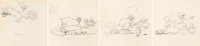 Babes in the Woods The Witch with Children Animation Drawings Sequence of 4 (Walt Disney, 1932).... (Total: 4 Original A...