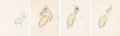 Animation Art:Production Drawing, Moth and the Flame Lady Moth Animation Drawings Sequence of 4 (Walt Disney, 1938). . ... (Tot...