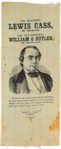 Political:Ribbons & Badges, Lewis Cass: An Extremely Rare 1848 Silk Campaign Ribbon. . ...