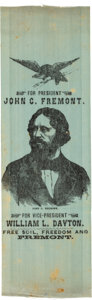 Political:Ribbons & Badges, John C. Frémont: Minty Portrait Ribbon on Teal Silk. . ...