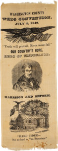 Political:Ribbons & Badges, William Henry Harrison: One-Day Event Silk Ribbon.. ...