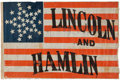 Political:Textile Display (pre-1896), Abraham Lincoln: A Significant and Possibly Unique Variant of this Classic 1860 Campaign Flag in Beautiful Condition.