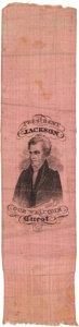 Political:Ribbons & Badges, Andrew Jackson: Rare and Sought-After Silk Portrait Ribbon.. ...