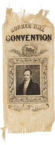 Political:Ribbons & Badges, Daniel Webster: Rare Silk Ribbon Picturing a Youthful Webster.. ...