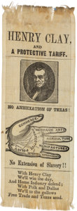 """Political:Ribbons & Badges, Henry Clay: """"Palm Reader"""" Ribbon with Texas and Slavery References. . ..."""