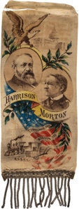 Political:Ribbons & Badges, Harrison & Morton: Colorful and Graphic Jugate Ribbon. . ...