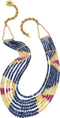 Estate Jewelry:Necklaces, Sapphire, Ruby, Gold Necklace. ...