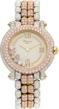 Estate Jewelry:Watches, Chopard Lady's Colored Diamond, Diamond, Gold Happy Sport La Vie En Rose Watch. ...