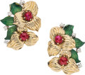 Estate Jewelry:Earrings, Ruby, Diamond, Enamel, Gold Earrings, Cartier. ...