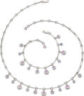 Estate Jewelry:Necklaces, Multi-Color Sapphire, White Gold Jewelry Suite, Chaumet . ... (Total: 2 Items)
