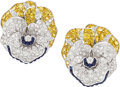 Estate Jewelry:Earrings, Diamond, Sapphire, Gold Earrings . ...