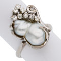 Estate Jewelry:Rings, Freshwater Cultured Pearl, Diamond, Palladium Ring. ...
