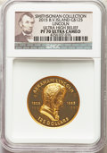 "British Virgin Islands: Elizabeth II gold Proof Ultra High Relief ""Abraham Lincoln"" 125 Dollars 2015 PR70 Ultr..."