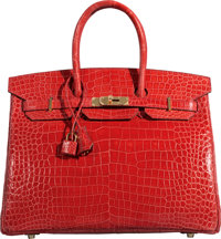 Hermès 35cm Bougainvillea Porosus Crocodile Birkin Bag with Gold Hardware P Square, 2012 Conditio