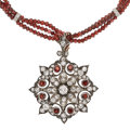 Estate Jewelry:Necklaces, Diamond, Garnet, Silver-Topped Gold, White Gold Pendant-Necklace. ... (Total: 0 Items)