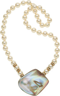 Cultured Pearl, Diamond, Blister Pearl, Gold Convertible Necklace