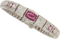 Estate Jewelry:Bracelets, Diamond, Ruby, White Gold Bracelet. ...