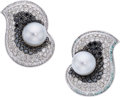 Estate Jewelry:Earrings, South Sea Cultured Pearl, Diamond, Colored Diamond, White Gold Earrings. ...