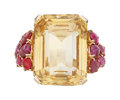 Estate Jewelry:Rings, Retro Citrine, Ruby, Gold Ring. ...