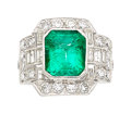 Estate Jewelry:Rings, Colombian Emerald, Diamond, Platinum-Topped Gold, Gold Ring . ...