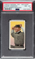 Baseball Cards:Singles (Pre-1930), 1909-11 T206 Sweet Caporal 350-460/42OP Hughie Jennings (Both Hands) PSA NM-MT 8 - Pop Two, One Higher Factory 42. ...