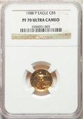 Modern Bullion Coins, 1988-P $5 Tenth-Ounce Gold Eagle PR70 Ultra Cameo NGC. NGC Census: (2420). PCGS Population: (479). CDN: $300 Whsle. Bid for...