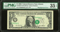 Error Notes:Shifted Third Printing, Shifted Third Printing Error Fr. 1933-F $1 2006 Federal Reserve Note. PMG Choice Very Fine 35 EPQ.. ...