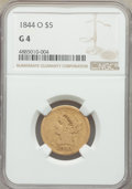 1844-O $5 Good 4 NGC. NGC Census: (2/691). PCGS Population: (0/426). Mintage 364,600. From The Poulos Family Collect...(...