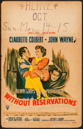 "Movie Posters:Comedy, Without Reservations (RKO, 1946). Fine/Very Fine. Window Card (14"" X 22""). Comedy.. ..."