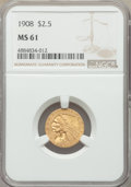 Indian Quarter Eagles: , 1908 $2 1/2 MS61 NGC. NGC Census: (1878/6160). PCGS Population: (509/5407). MS61. Mintage 564,800. ...