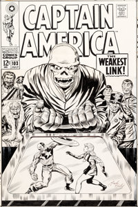 Jack Kirby and Syd Shores Captain America #103 Cover Red Skull Original Art (Marvel, 1968)