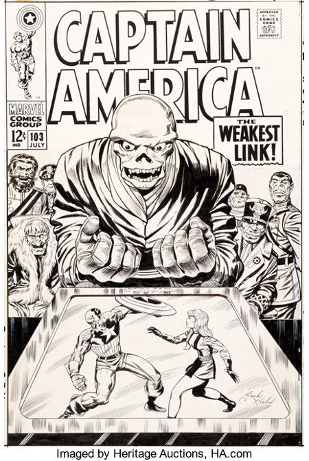 Jack Kirby and Syd Shores Captain America #103 Cover Red Skull Original Art (Marvel, 1968)....