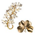 Estate Jewelry:Brooches - Pins, Diamond, Cultured Pearl, Gold Brooches. ... (Total: 2 Items)