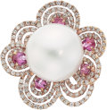 Estate Jewelry:Rings, South Sea Cultured Pearl, Diamond, Pink Sapphire, Gold Ring. ...