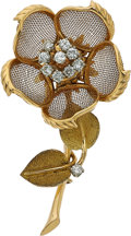 Estate Jewelry:Brooches - Pins, Diamond, Gold Brooch, Cartier, French. ...